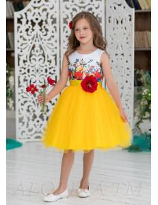 Платье нарядное желтого цвета с большим цветком Алолика
