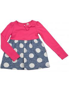 Платье с длинным рукавом розовое-синее в горох