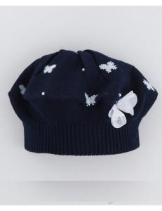 Берет полушерстянной темно-синего цвета с бабочками МОЛЛИ