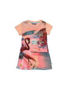 "Футболка-туника для девочек персикового цвета ""Фламинго"""